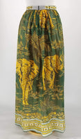 Authentic Valentino Green/Gold Elephant Print Cotton Skirt Sz 8