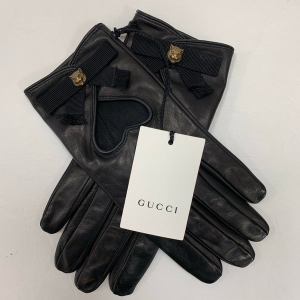 Authentic Gucci Black Leather Gloves