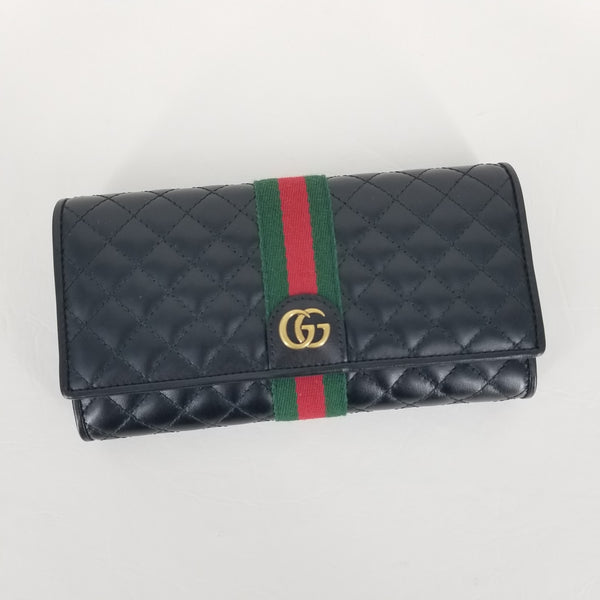Authentic Gucci Quilted Black Vintage Stripe Classic Wallet