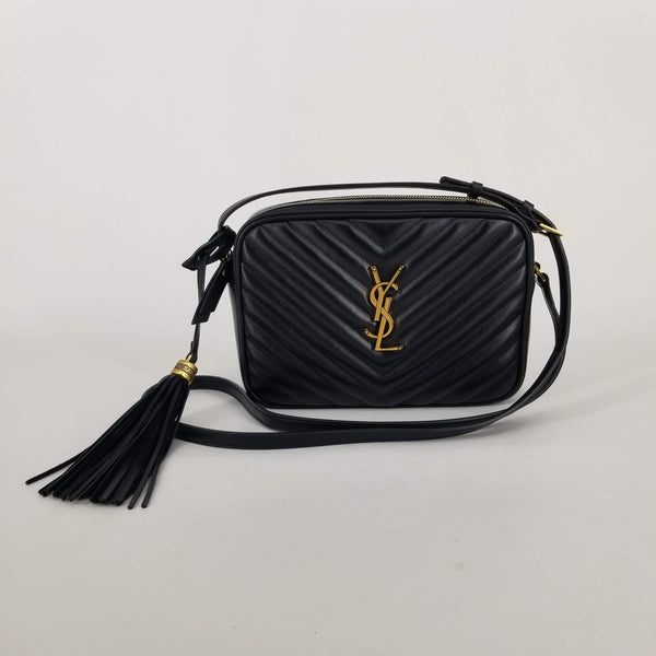 Authentic Saint Laurent Black Chevron Camera Bag