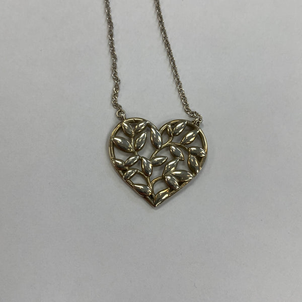 "Authentic Tiffany Paloma Picasso SS Olive Leaf Heart 18"" Necklace"