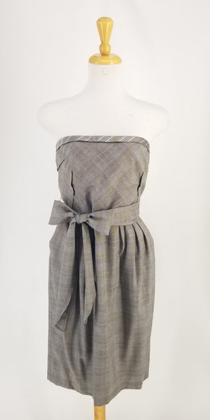 Authentic Lida Baday Taupe Wool Plaid Strapless Corset Dress Sz 12
