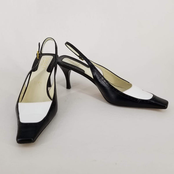 Authentic Gucci Black/White Leather Slingbacks Sz 9.5