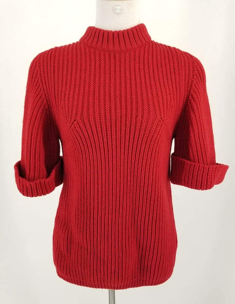 Authentic Chloe Red Knit Short Sleeve Sweater Sz S
