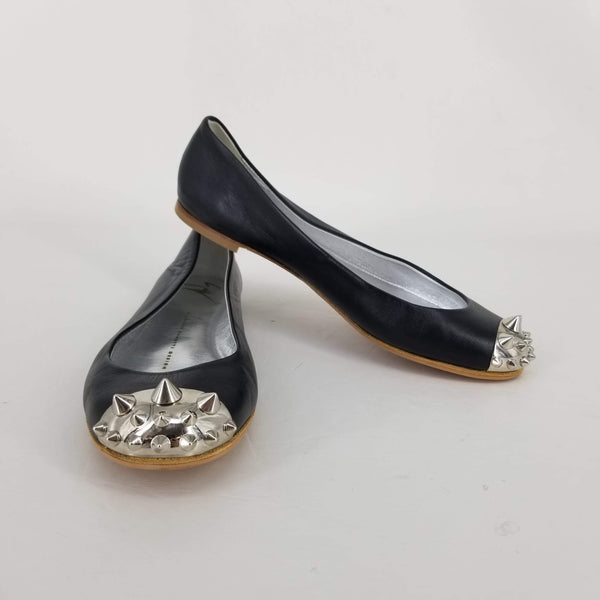 Authentic Giuseppe Zanotti Black Spike Toe Ballet Flats