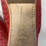 Authentic Bottega Veneta Red Leather Woven Mules Sz 36.5