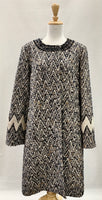 Authentic Tory Burch Chevron Navy and Cream Tweed with Jewelled Collar Coat Sz 14