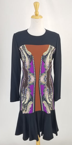 Authentic Etro Black Long Sleeved Printed Dress Sz M