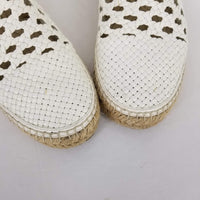 Authentic Celine Ivory Woven Leather Lace-ups
