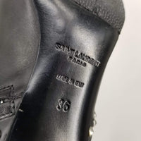 "Authentic Saint Laurent Black Studded Pointed Toe ""Cat"" Leather Ankle Boots"
