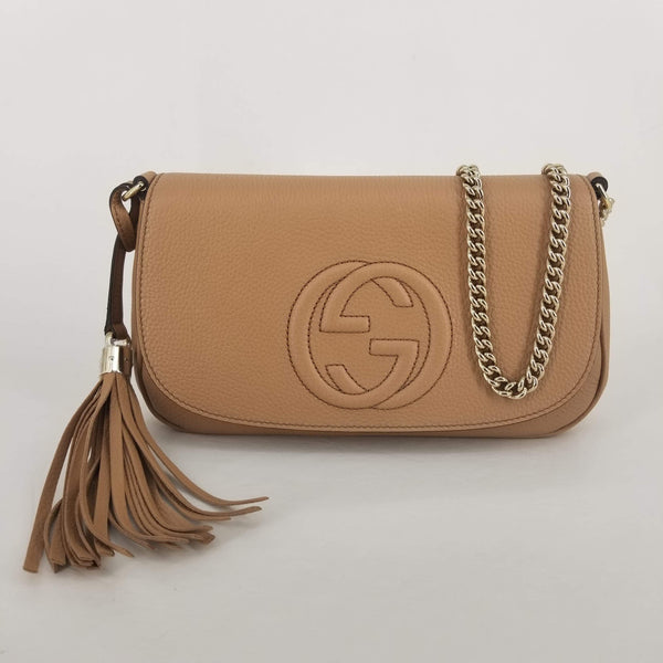 Authentic Gucci Beige Leather Soho Flap Tassel Bag