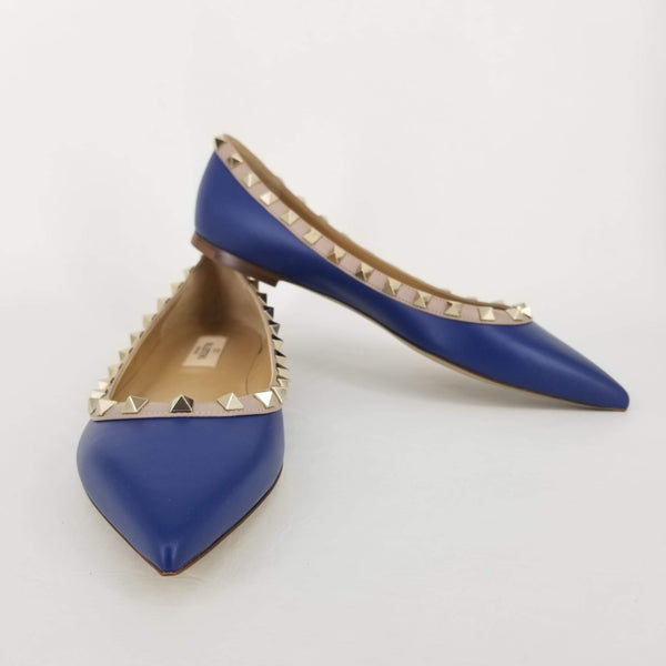 Authentic Valentino Blue Rock Stud Flats