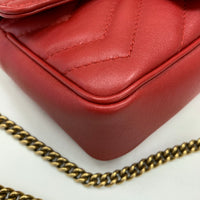 Authentic Gucci Red Leather Marmont Super Mini Flap