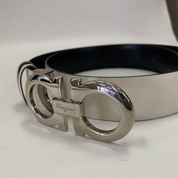 Authentic Salvatore Ferragamo White Leather Belt