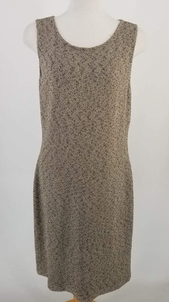 Authentic St. John Taupe Tweed Sleeveless Dress Sz 14