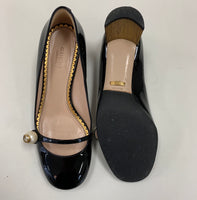 Authentic Gucci Arielle Black Patent Pearl Pumps