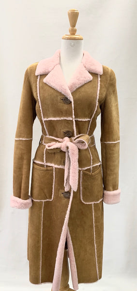 Authentic Dolce & Gabbana Tan/Pink Shearling Coat Sz S
