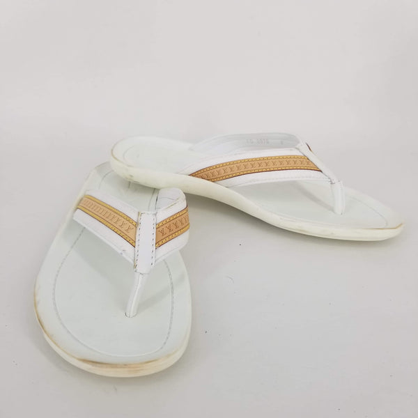 Authentic Louis Vuitton White Rubber Flip Flops