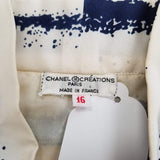 Authentic Chanel Cream Navy Pussy Bow Blouse Sz M/L