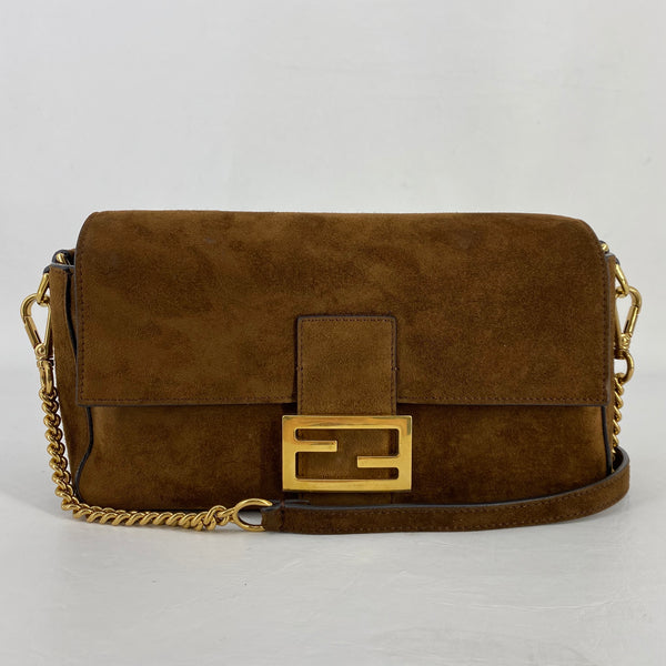 Authentic Fendi Brown Suede Baguette