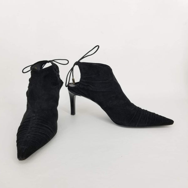 Authentic Gucci Black Suede Tie-Back Booties