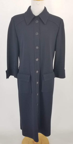 Authentic St. John Navy/Black Long Jacket 3/4 Sleeves Sz 12