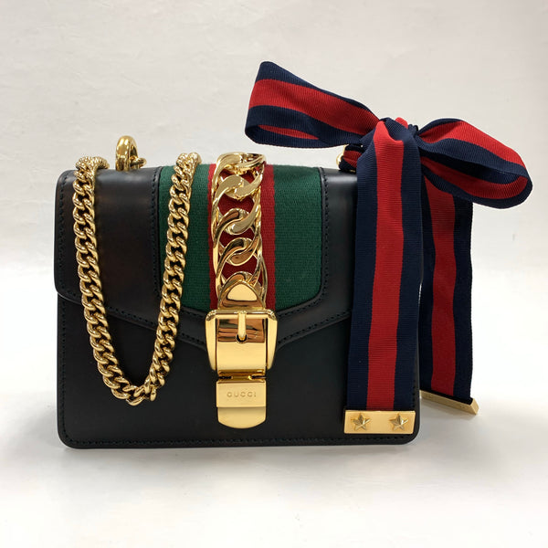 Authentic Gucci Black Leather Sylvie Mini Chain Bag