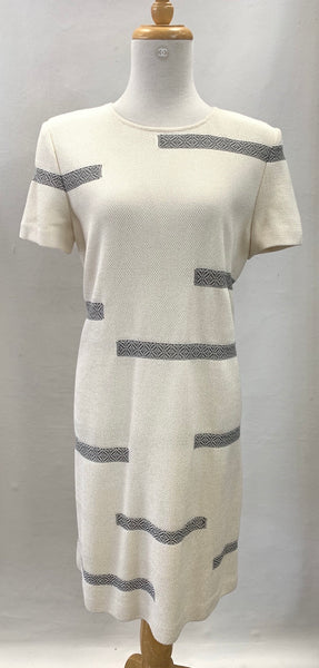 Authentic St John Cream Short Sleeve Dress Sz 10