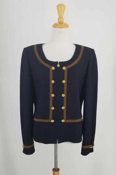 Authentic St John Navy Jacket with Brown Suede