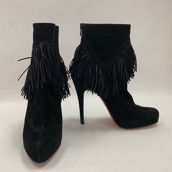 Authentic Christian Louboutin Black Suede Rom Fringe Boots