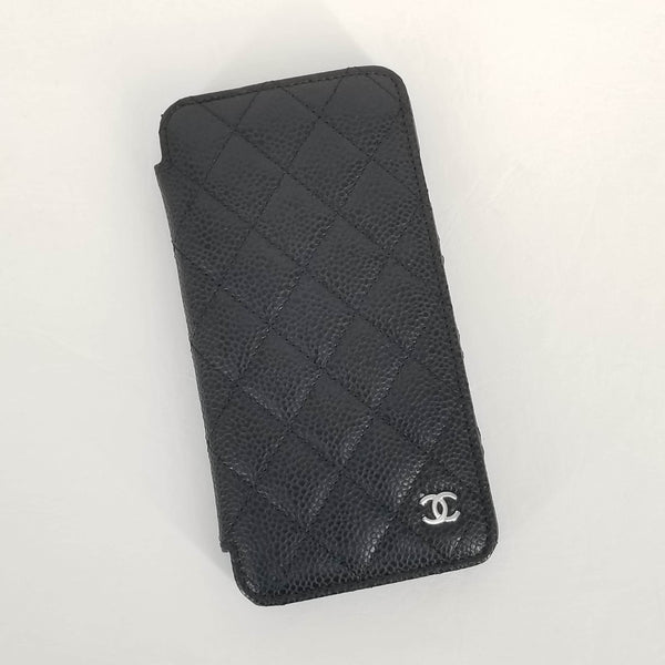 Authentic Chanel Black Caviar Quilted IPhone 6+ Wallet Phone Case