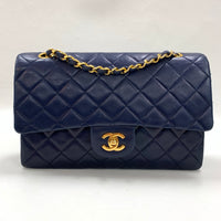 "Authentic Chanel Navy Lambskin 10"" Classic Double Flap"