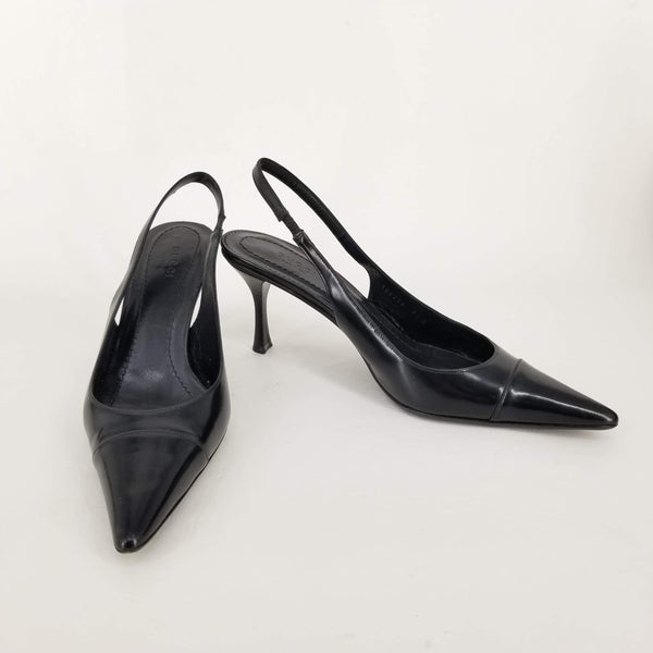 Authentic Gucci Black Leather Slingbacks Sz 9.5