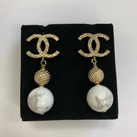 Authentic Chanel Gold Tone Marbled Drop Earrings