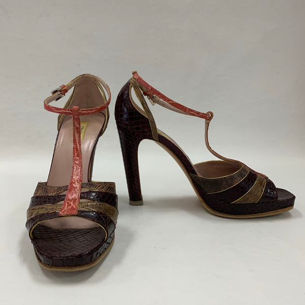 Authentic Prada Mixed Exotic Leathers Burgundy Sandals