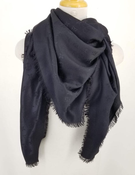 Authentic Louis Vuitton Black Wool/Silk Shawl