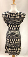 Authentic Diane Von Furstenberg Black/Tan Sleeveless Silk Knit Dress Sz 10