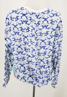 Authentic Stella McCartney Blue and White Silk Print LS Blouse Sz S