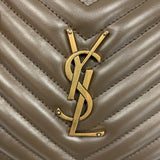 Authentic Saint Laurent Taupe Chevron Camera Bag