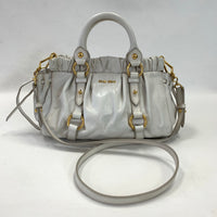 Authentic Miu Miu Ivory Gathered Leather Satchel