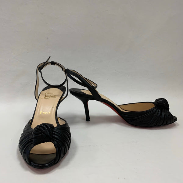 Authentic Christian Louboutin Black Marchavekel Leather Knot Sandal 75