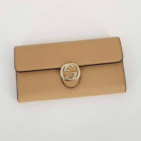 Authentic Gucci Beige Soho Leather Continental Wallet