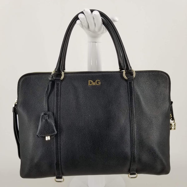 Authentic Dolce & Gabbana Black Leather Lily Twist Tote