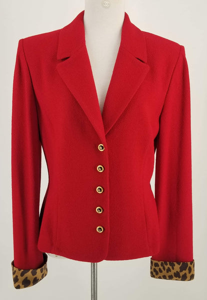 Authentic St. John Red Knit Jacket Sz 12