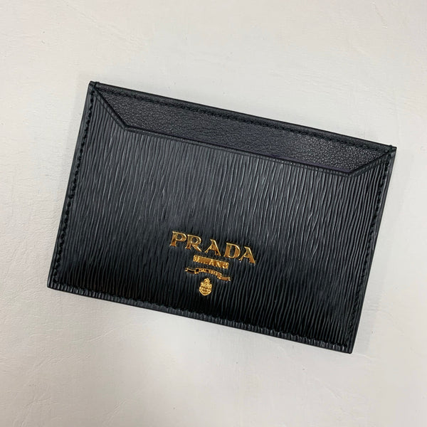 Authentic Prada Black Saffiano Leather Card Holder