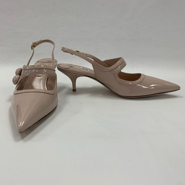 Authentic Miu Miu Nude Patent Kitten Heel Slingbacks
