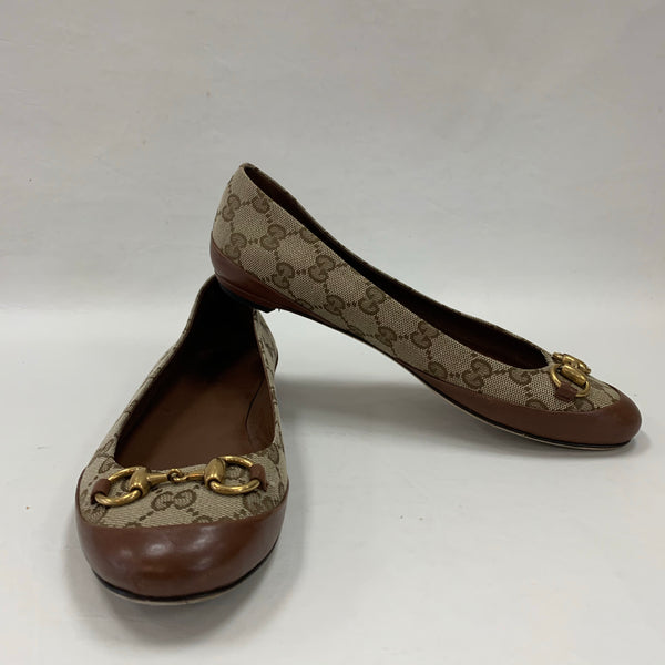 Authentic Gucci Beige Canvas Horsebit Ballerina Flats