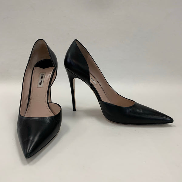 Authentic Miu Miu Black Leather Orsay Pumps
