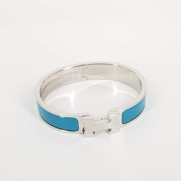 Authentic Hermes Teal Enamel Clic Bracelet with Silver HW