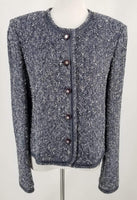 Authentic St John Navy Tweed Box Cut Jacket Sz 12